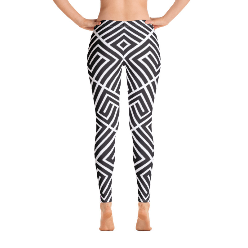 "Black and White Abstract ""All Over"" Leggings"